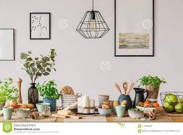 Tafellamp Industriële Lamp Boven Eettafel Stock Foto Afbeelding
