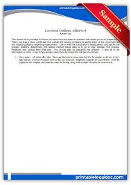 Free Printable Lost Stock Certificate Legal Forms Free Legal Forms