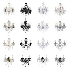 marie therese 3 5 9 ceiling wall light chandeliers clear black white