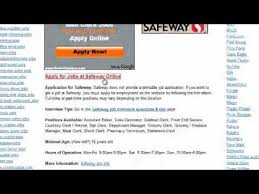 safeway job application online form safeway job application youtube