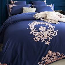 luxury royal blue and rose gold victorian indian pattern royal style full queen size bedding sets