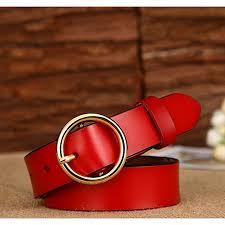 women s round buckle leather belt las pin buckle leather belt women s belt 100cm red