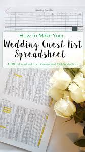 How To Make Your Wedding Guest List Spreadsheet Free