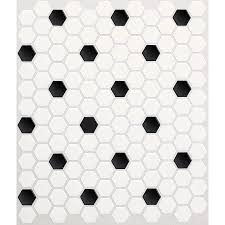 american olean satinglo hex 10 pack ice white with black dot honeycomb mosaic ceramic floor