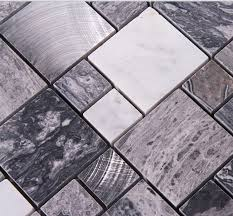 Metal floor tiles Sci Fi Stone Mosaic Tiles Brushed Stainless Steel Backsplash Kitchen Metal Wall Art Marble Floor Tile Metallic Mosaic Wall Tile 9481 Bravotticom Stone Mosaic Tiles Brushed Stainless Steel Backsplash Kitchen Metal