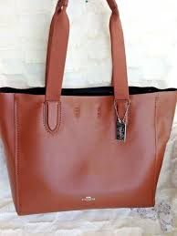 coach derby tote shoulder bag pebble leather f58660 saddle