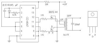 12vdc to 220vac inverter circuit diagram pdf 12vdc 12v to 220v inverter based mosfet irfz44 inverter circuit and on 12vdc to 220vac inverter circuit