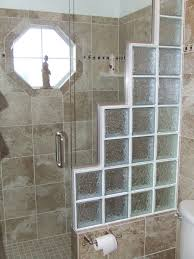shower remodeling with block glass and frameless door