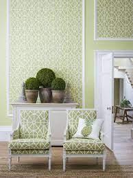 matching green wallpaper and fabrics ...