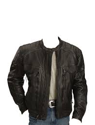 zipper gusset leather biker jacket for men 0