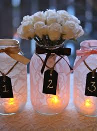 Wedding Decor With Mason Jars Set of 100 Lace Mason Jars with chalkboard tags wedding table 35