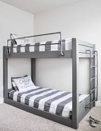 double your sleeping space with these easy to build diy industrial bunk bed free plans using