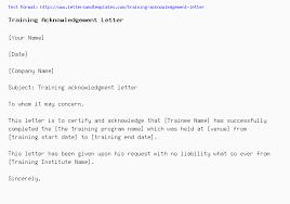 Training Acknowledgement Letter
