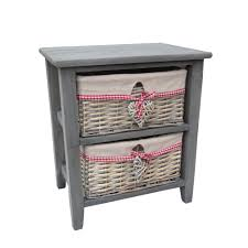 grey wooden bedside table with 2 grey wash wicker storage baskets