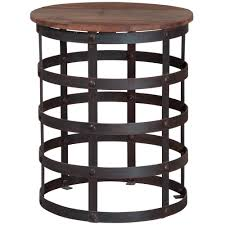 end table reclaimed metal and wood side table industrial chic round 17 precious round