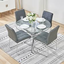 round glass table and 4 grey chairs modern chrome leather office dining room set 184 99 pic uk