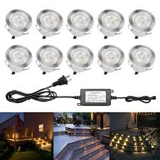 Outdoor Landscape Lighting Sets Low Voltage Led Deck Lighting Kit Stainless Steel Waterproof Outdoor Step Lights For Landscape Garden Yard Patio Step Decoration Lamps 10 Piece Warm