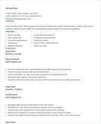 Teller Resumes Experience Bank Teller Resume Template Teller Resumes ...