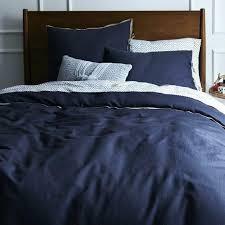 west elm linen cotton blend duvet cover full queen india ink navy blue new nwt full