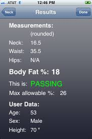 Apft Body Fat Chart Us Army Apft And Body Fat Calculator Iphone App