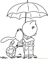 Small Picture Boule and Bill with Umbrella Coloring Page Free Boule et Bill