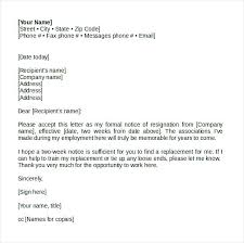 Formal Resignation Letter Format Copy 7 Resign Letter Format With ...