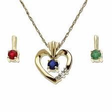 heart pendant in 10k gold with diamond accents and interchangeable stones blue sapphire emerald ruby