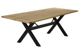 x cross black aluminium outdoor dining table teak top