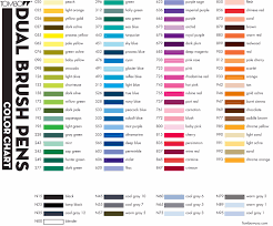 Tombow Dual Brush Pen Blank Color Chart Tombow Abt Dual Brush Colouring Pens Colour Chart