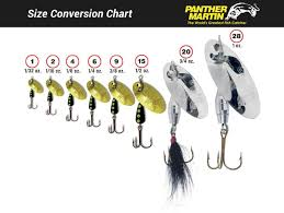 Bait Size Chart Panther Martin Lures Size Chart Panther Martin Fishing Lures