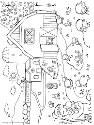Farm Coloring Sheets With Cartoon Pages Also Farmers Kids Image