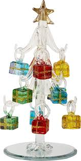 Amazon.com: LSArts Glass Christmas Tree with Ornaments, Clear, 6 Inch, Gift  Box: Home & Kitchen