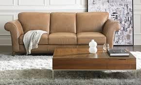 natuzzi letizia 92 inch tan top grain leather roll arm sofa