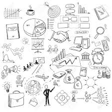 Hand Draw Doodle Web Charts Business Finanse Elements On Chalk