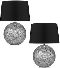 silver bedside lamps pair of silver glitter bedside table lamps with black shades nvzfgxl