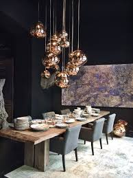 Copper Dining Table Lights Love The Bold Dark With The Copper Shiny Globes Mixed With