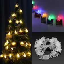 Warm Led Tree Lights Battery Operated 6m Warm White Colorful 40 Led Star Photo Clips String Light Christmas Wedding Decor