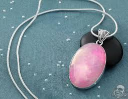 silver and pink moonstone pendant necklace