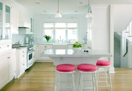 Decorating A White Kitchen Divine Red Rounded Stools Feat White Granite Top Kitchen Island On
