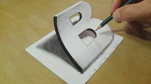 drawing 3d letter b trick art on paper with graphite pencils illusion for kids s