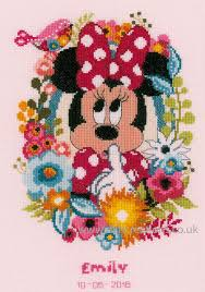 Disney Minnie Mouse Shushing Birth Sampler Cross Stitch Kit