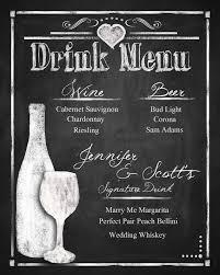 wedding drink menu. Custom Chalkboard Wedding Drink Menu choose your IdealPin