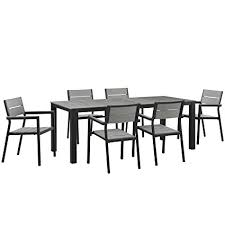 modway maine 7 piece aluminum dining table and chair outdoor patio set in brown gray