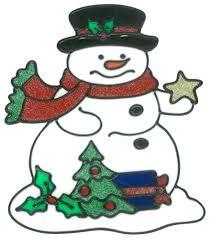 Magicgel Fensterbilder Weihnachten Schneemann Mit Stern Und Baum 20 X 22 Cm Fensterdeko Für Das Basteln Mit Kindern