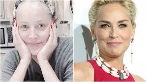 sharon stone split image no makeup
