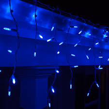 LED Christmas Lights - 70 M5 Blue LED Icicle Lights