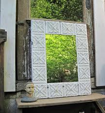 wood bathroom mirror digihome weathered: vintage ceiling tin mirror white bathroom mirror salvage rustic wall mirror large industrial mirror old weathered paint
