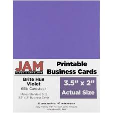 Jam Paper Printable Business Cards 3 12 X 2 Brite Hue Violet 100