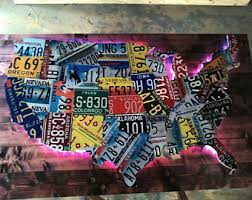 more colors large led lighted 3 d usa license plate map art metal wall art all 50 states  on license plate wall art all 50 states with us license plate map etsy