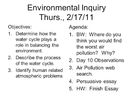 environmental inquiry tues objectives determine how  21 environmental